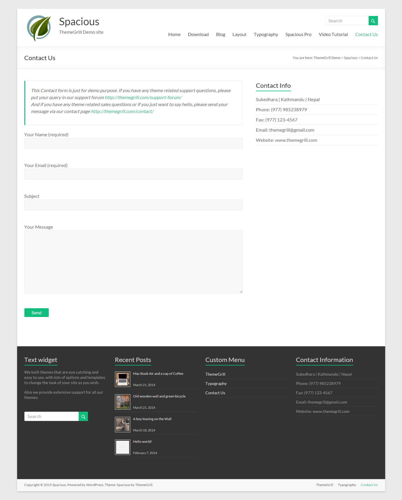 Custom themes for gmail -  Spacious Themegrill Wordpress Website Design 3